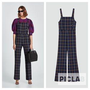 Zara navy blue check overalls